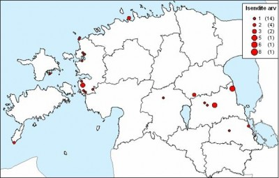 Joonis 2. Punajalg-pistrike isendite arvud Eestis 2005. aasta sügisel. Figure 2. Number of Red-footed Falcons at different sites.